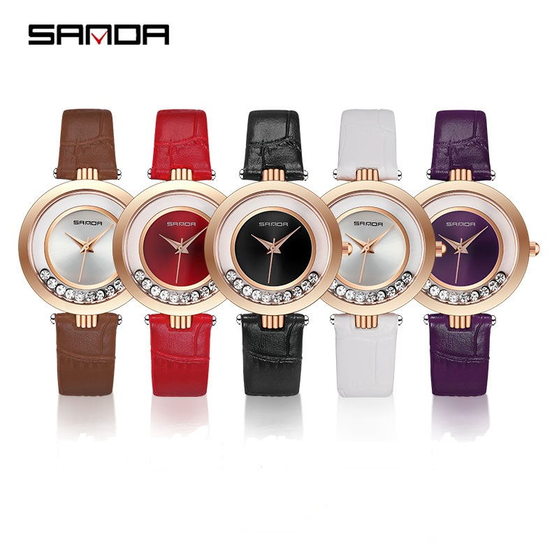 SANDA Luxury Women Quartz Watches Waterproof Fashion Ladies Dress Casual Watches Quicksand Rhinestone Leather Strap ShockproofSANDA Luxury Women Quartz Watches Waterproof Fashion Ladies Dress Casual Watches Quicksand Rhinestone Leather Strap Shockproof