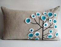 #676 اليدوية التطريز شجرة الملونة مستطيل minstrelsy وسادة وسادة قطني أريكة سرير غرفة المنزل ديسمبر بالجملة