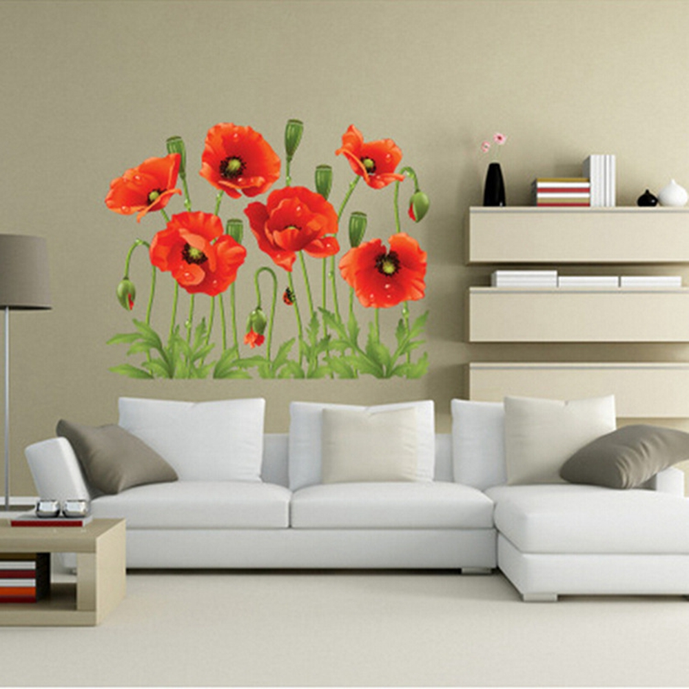Big Discount Red Poppy Removable Wall Decals Home Decor Art Flower