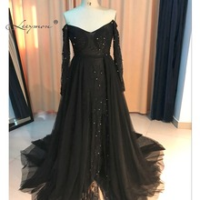 Sexy Backless Chiffon Farbic Evening Gown Long Sleeves Lace Off-shoulder Evening Dress Gray Slit Evening Dress E02