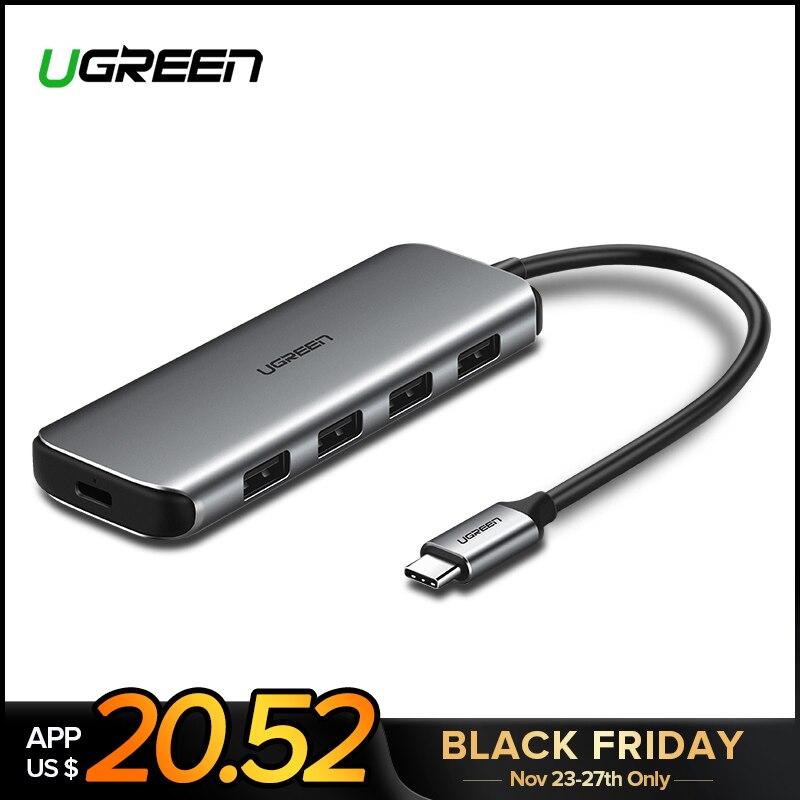 Ugreen USB C HUB En Aluminium USB 3.0 HUB 4 Ports Type C 3.1 Splitter avec PD pour MacBook Pro Samsung galaxy S9/S8/Note 9 USB-C HUB