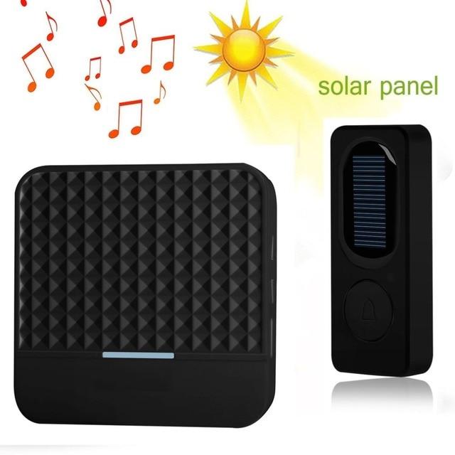 Solar Powered Wireless Doorbell Alert System LED Light Intelligent Home Door Bell 300M Range 52 Chimes Electric Doorbell