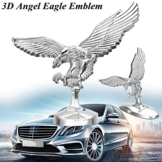 Emblem Angel Eagle Auto Car Front Cover Chrome Hood Ornament Badge Bonnet