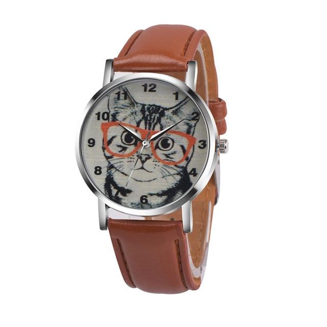 458023f47e8 2018 New Arrival Cat Pattern Leather Band Analog Quartz Vogue Wrist Watch  Relogio Feminino Hot Sale woman watch Fabulous