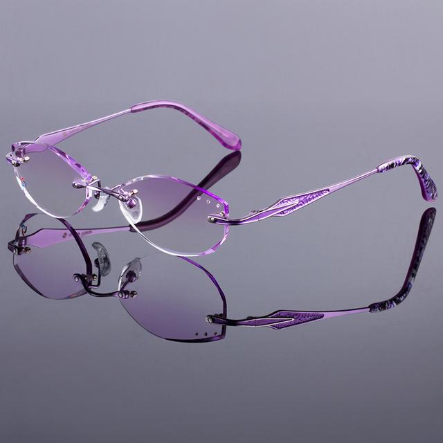 Mulheres atraentes titanium liga óculos de armação mulheres óculos sem aro moldura óculos sem aro de diamante corte corte com lentes gradiente matiz