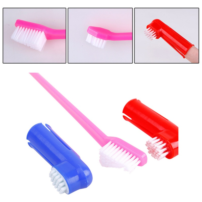 Pet Toothbrush Supplies Double Head Toothbrush + Finger Toothbrush Suit Pet Dog Cat Toothbrush Color Random