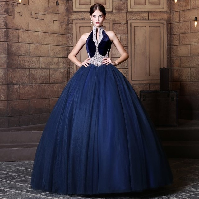 Color Wedding Dress 2017 Robe De Mariage Ball Gown Dark Blue Color Lace Up  Beading Halter