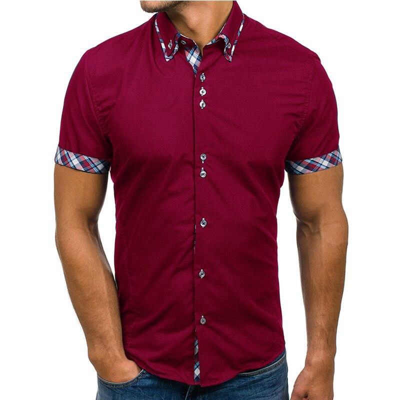 Großhandel Männer Hemd 2018 Marke Mode Beiläufige Dünne Kurzarm Kleid Hemd Baumwolle Plus Größe Einfarbig Top Kleidung Weiß schwarz