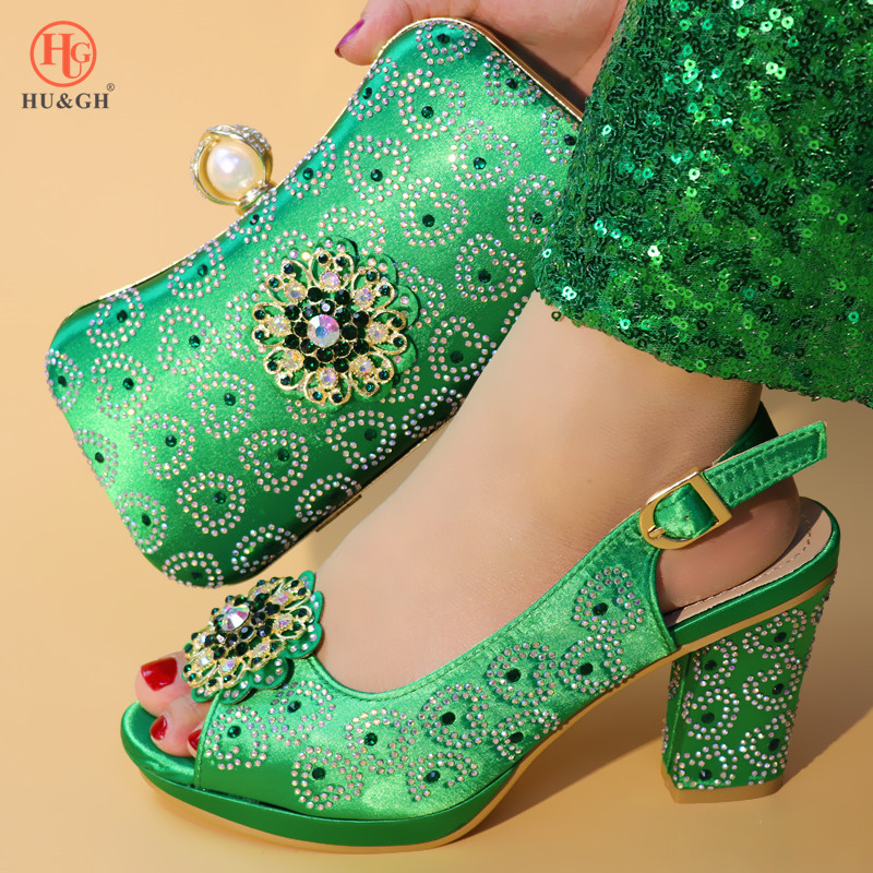 2019 Green Color Ladies Shoes with Matching Bags Set Shoe and Matching Bag for Nigeria Party African Wedding Shoes and Bag Set - 1