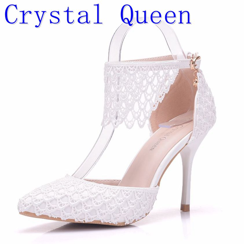Crystal Queen Lady Sandals Lace Wedding Shoes Evening Party Dress Pumps Bridal High Heels Woman Flower Tassel Fringe Shoes