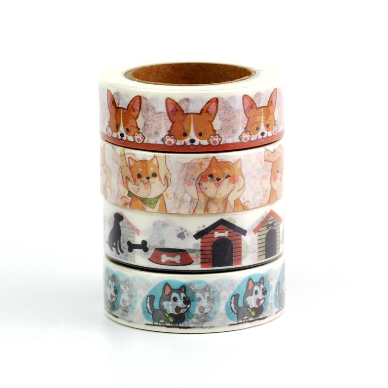 1PC 1.5cmx10m Cute Dog And Cat Washi Tape Set Japanese Paper Planner Masking Tape Adhesive Tapes Stickers Decor Stationery Tape