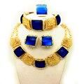 Nova Moda conjuntos de jóias de casamento imitação de safira da África Nigéria Africano partido Índia conjuntos de jóias Colar brinco anel