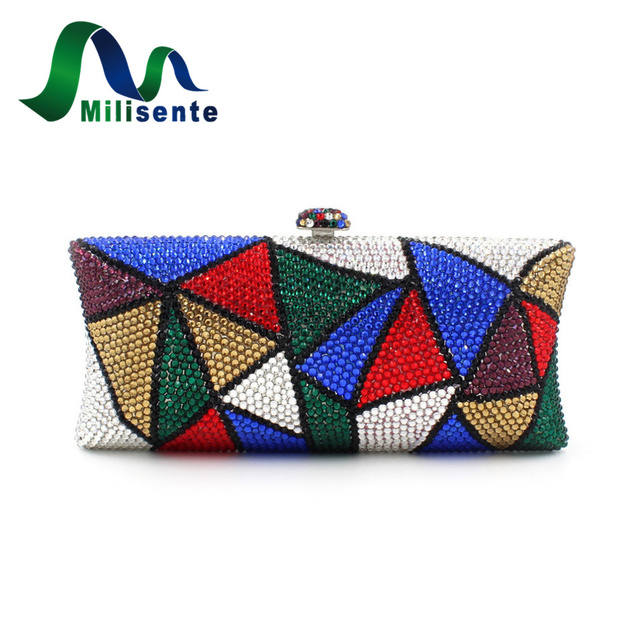 New Panelled Contrast Color Crystal bags Women Evening Purse Day Clutches Wedding Party Handbags Blue Red Gold Silver Green