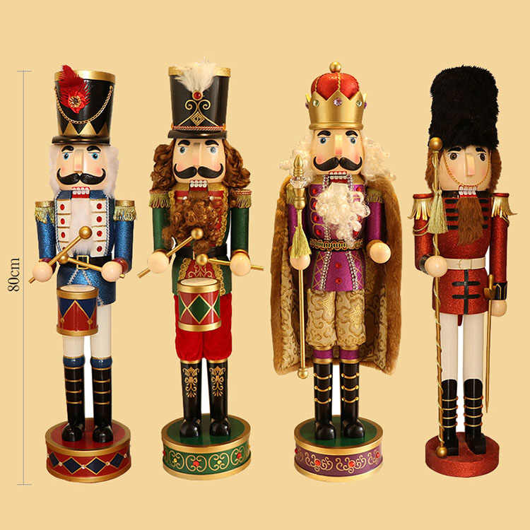 80CM/PC High Quality Classic Puppet Nutcracker Wooden Ornaments Exquisite Special Birthday Present Cafe Bar Creative Decoration