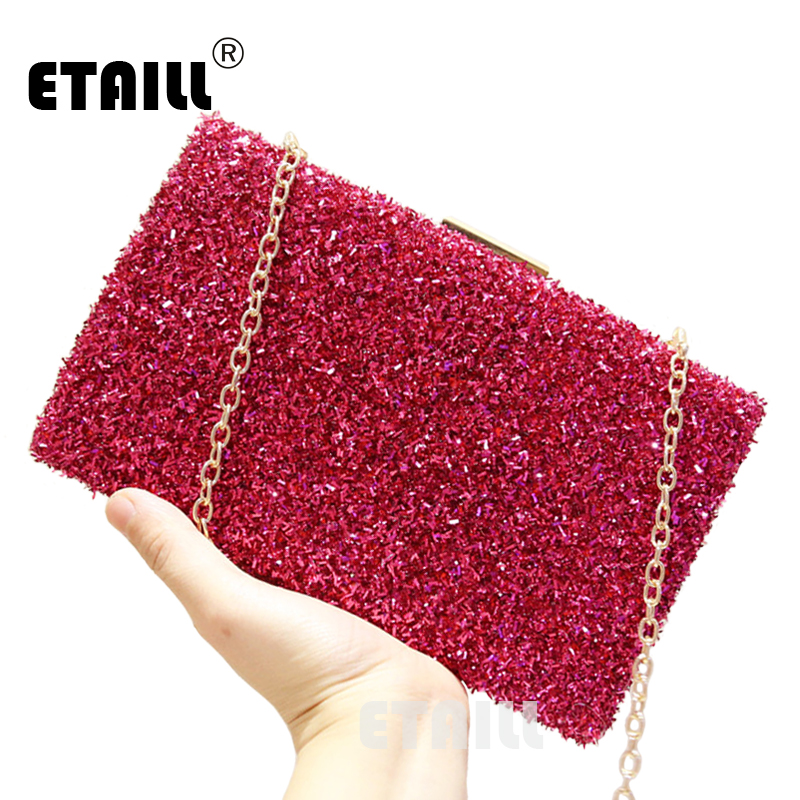 ETAILL 2017 Paillette Bling Day Clutch Evening Bags Ladies Glitter Sequins Handbag Sparkling Party Evening Envelope Clutch Bag