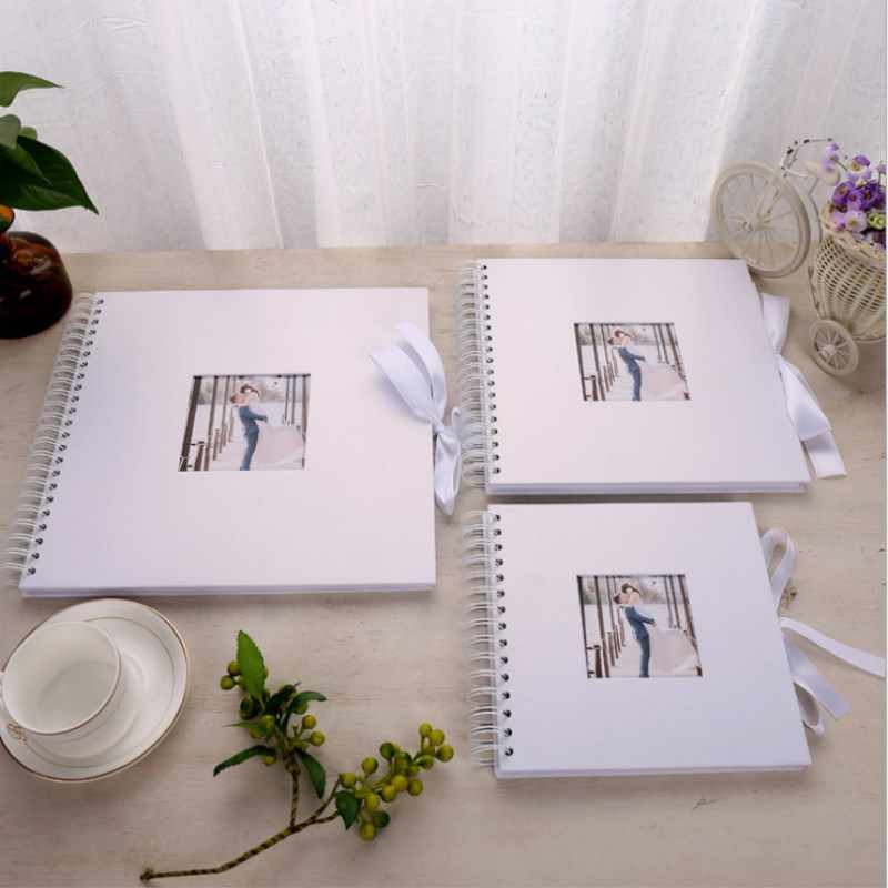 White DIY Photo Album Valentines Day Gifts Wedding Photo Album Guest Book Craft Paper  Anniversary Travel Memory Scrapbooking