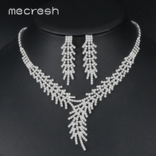 Mecresh Leaf Branch Crystal Bridal Jewelry Sets for Women Silver Color Rhinestone Necklace and Earring TL550