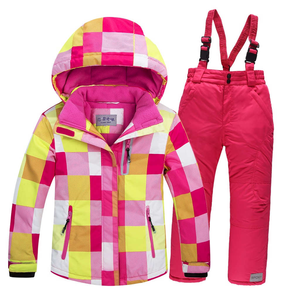 New skiing jacket+pants snow suit fur lining ski suit kids winter clothing set for boys and girls new skiing sports coat 2016 winter boys ski suit set children s snowsuit for baby girl snow overalls ntural fur down jackets trousers clothing sets
