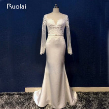 Real Photo Sexy Satin Mermaid Wedding Gown Scoop Long Sleeves Appliqued Beaded Wedding Dress Bridal Gown Vestido de Novia ASAW42