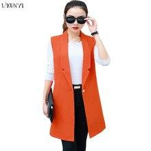 LXUNYI Long Woman Waistcoat Spring Autumn New Vest Women Coat Sleeveless Female Formal Slim Office Suit Jacket Plus Size