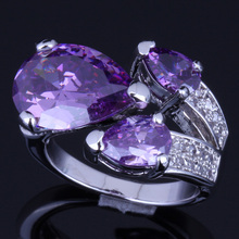 Glittering Big Pear Purple Cubic Zirconia White CZ 925 Sterling Silver Ring For Women V0150