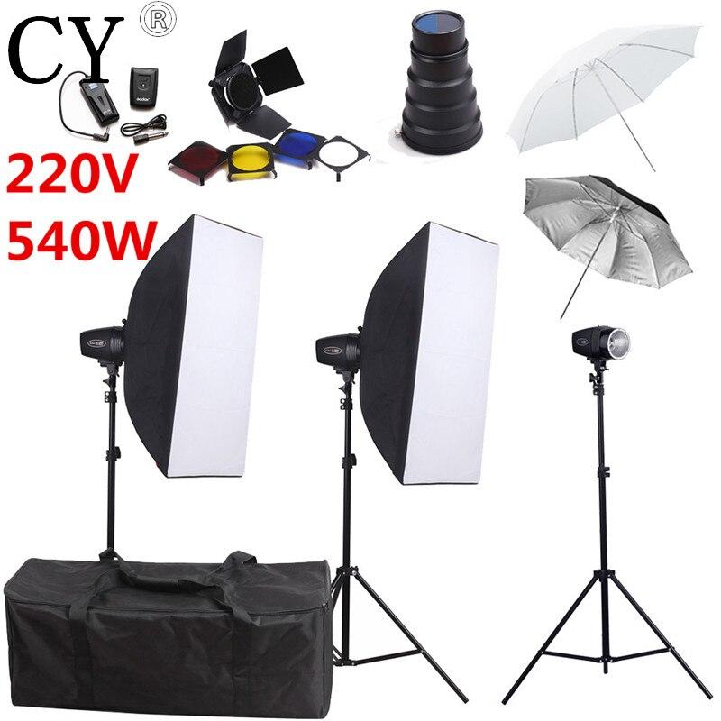 Godox K-180A Photography Softbox Flash Lighting Kits 540W 220V Flash Monolight Lightbox Stand Set Photo Studio Accessories