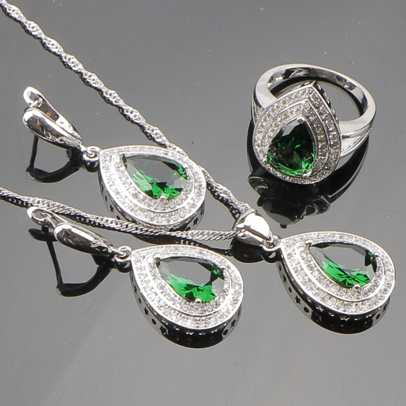 Green Emerald White Topaz 925 Sterling Silver Jewelry Sets For Women Sliver Pendant/Necklace/Earrings/Rings Free Gift Box