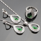 Drop Green Cubic Zirconia White CZ 925 Sterling Silver Bridal Jewelry Sets For Women Sliver Pendant/Necklace/Earrings/Rings