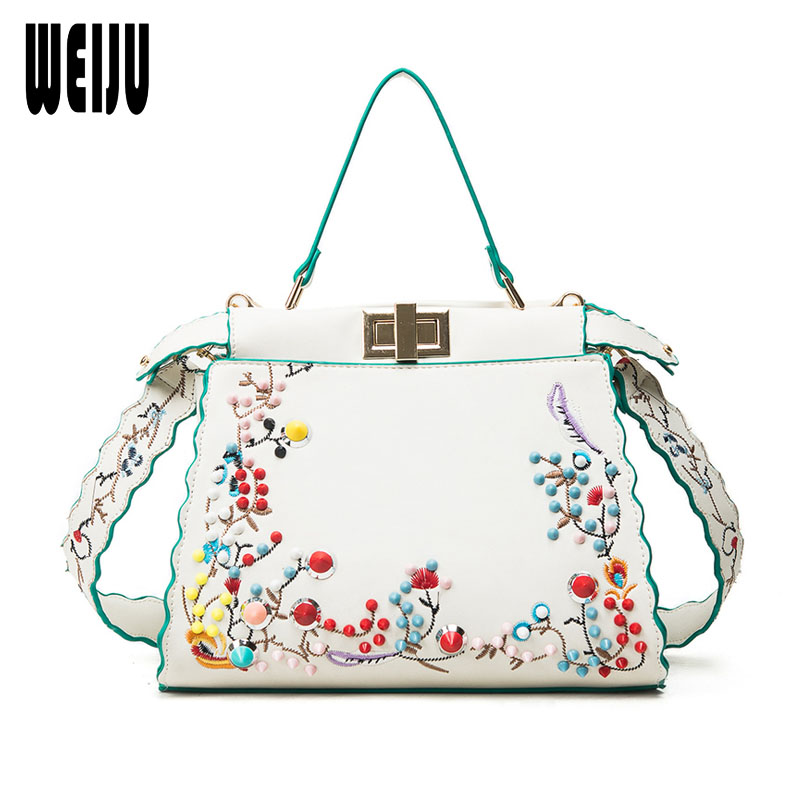 WEIJU New Fashion Bag Colorful Rivets Women Handbags PU Leather Vintage Embroidery Wide Strap Shoulder Bag Ladies Crossbody Bags new style fashion punk colorful rivets casual pu leather ladies handbag shoulder strap belt bag accessories bag parts 3 colors