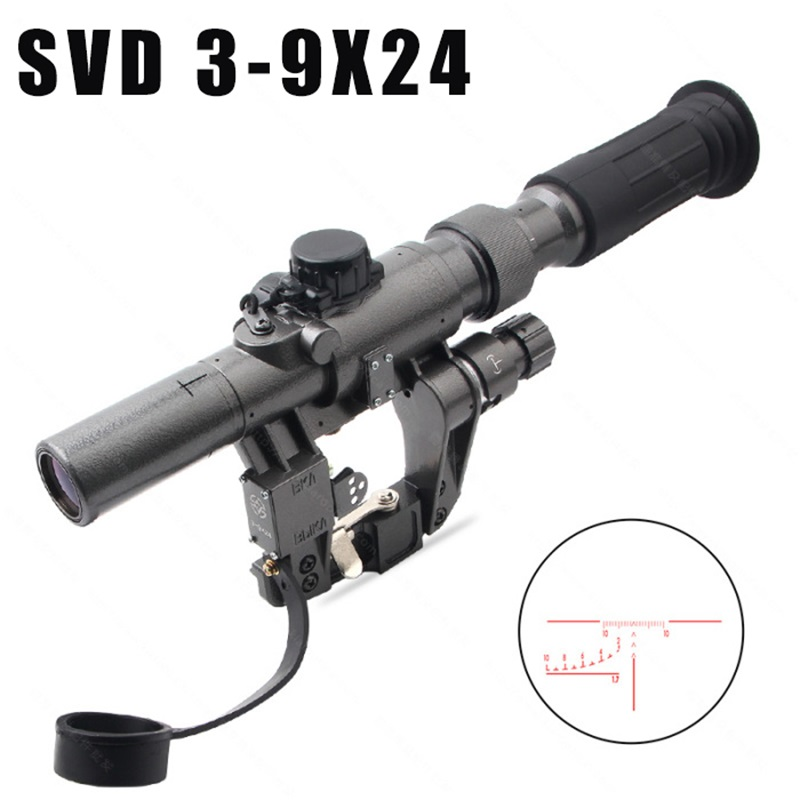 Dragunov SVD POS 3-9X24 FFP Red Illuminated Hunting Riflescope Glass Reticle Tactical Optics Sights Shooting AK Rifle Hunting