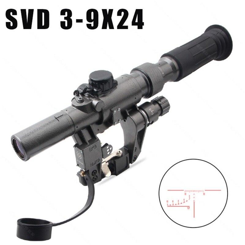 Dragunov SVD POS 3-9X24 Red Illuminated Hunting Riflescope Glass Reticle Tactical Optics Sights Shooting AK Rifle Hunting Shoot