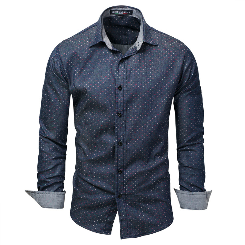 Men Polka Dot Printed Shirts 2018 New Spring Autumn 100% Cotton Long Sleeve Casual Denim Male Shirt Plus Size Euro Size M-XXXL