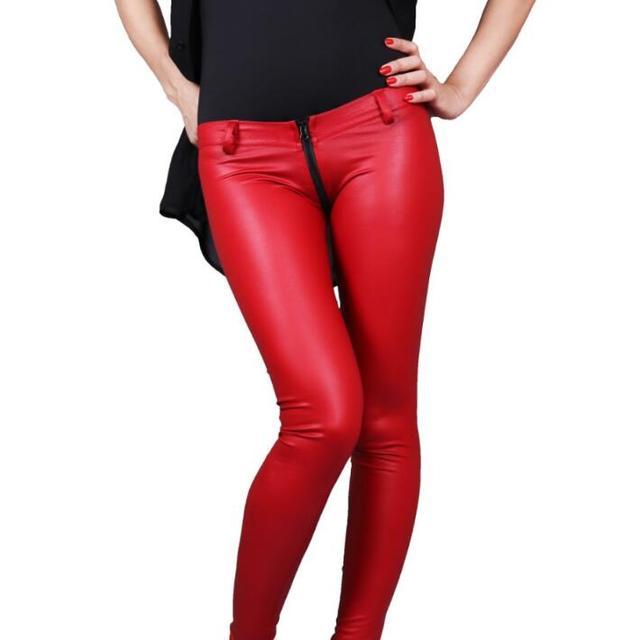 76366cac4850a Zipper fashion sexy motorcycle faux leather pants womens tight skinny  trousers pu pants for women pantalon