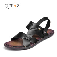 QFFAZ Men Sandals Summer Men's Slippers Leather Shoes Beach Casual Breathable Home Slippers Men Shoes Flip Flops Zapatos