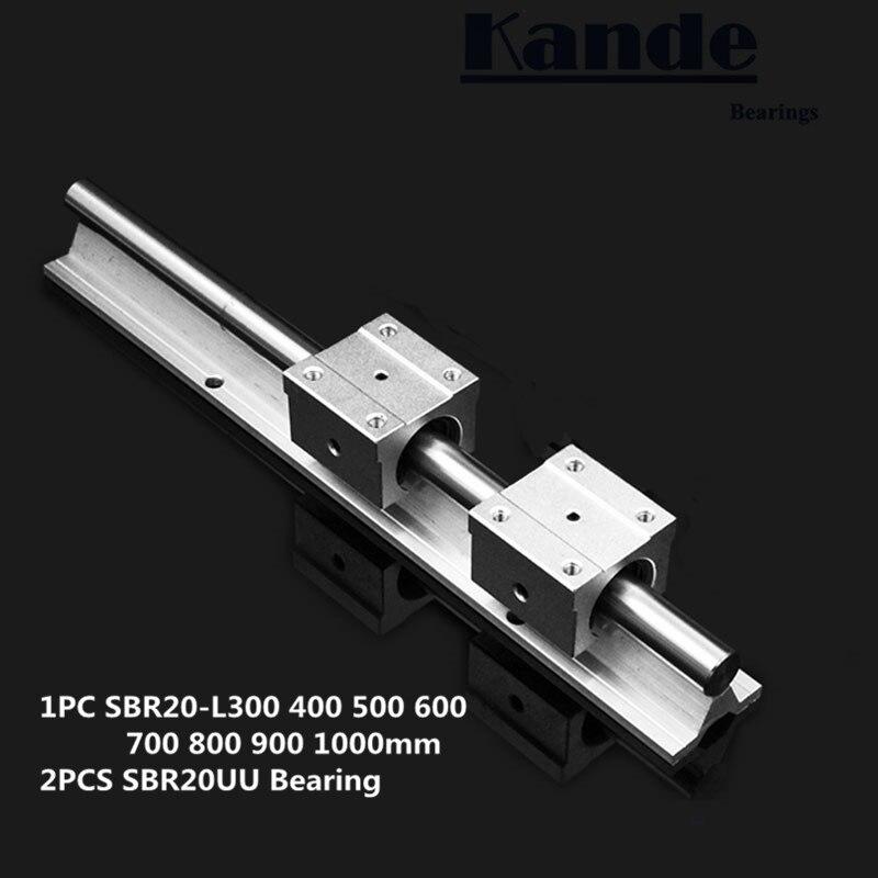 Linéaire rail 20mm SBR20-300 400 500 600 700 800 900 1000mm 1 pc linéaire guide SBR20 + 2 pcs SBR20UU blocs pour CNC