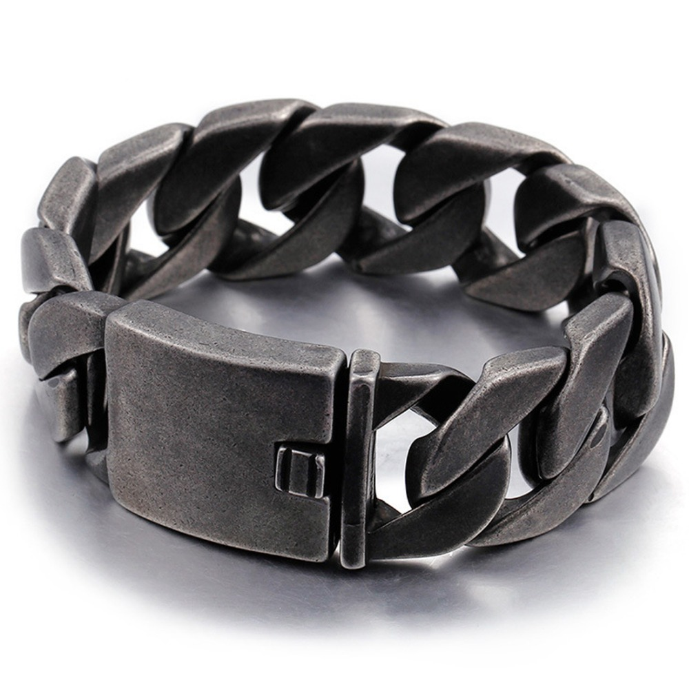 20/25MM Gothic Rock 316L Stainless Steel Black Brushed Cuban Curb Chain Wristband Men's Bracelet Bangle 8.66″ Christmas Gift New