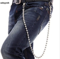 NEW Antique Silver Plated Round Beads Chains 34 Metal Linked Heavy Jeans Chain Punk Rock Hip