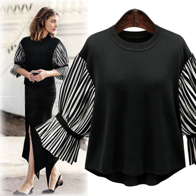 [TWOTWINSTYLE] 2017 Spring Half Flare Sleeve O-neck Knitting Loose Patchwork Stripe T-shirt Women New Fashion Clothing