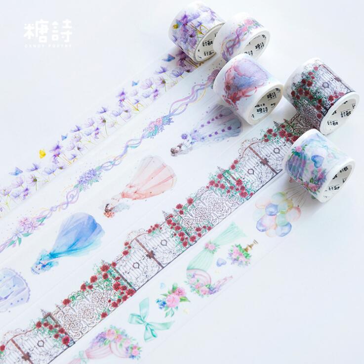 Wedding Skirt Flowers Washi Tape Adhesive Tape DIY Scrapbooking Sticker Label Masking Tape