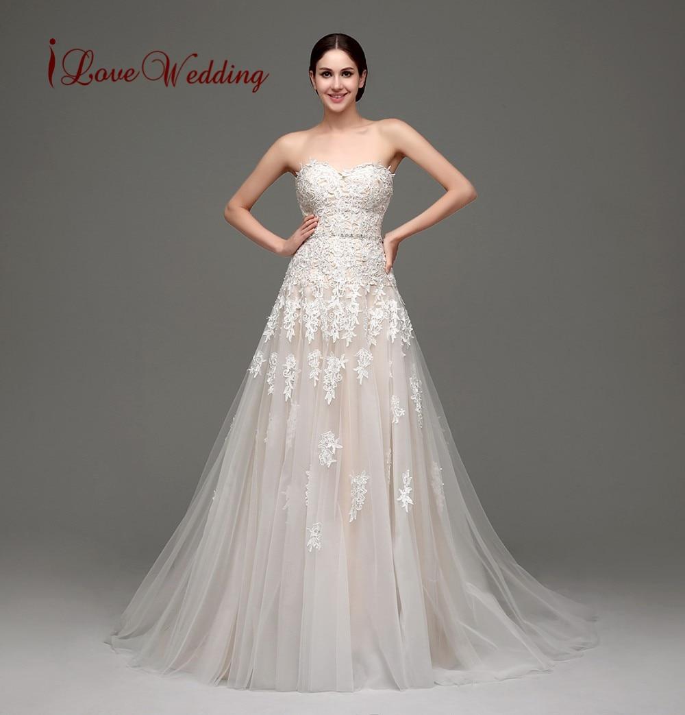 iLoveWedding In Stock Romantic Bridal Gown Dresses Lace Tulle Vestido De Noiva Crystals Pearl Sash Casamento