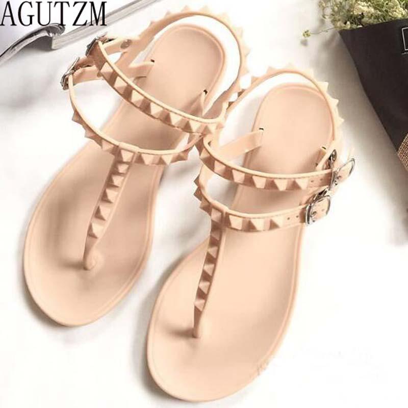 AGUTZM 2018 Flat Heel Rivet Sandals Ladies Summer Beach Shoes Women High Heels Gladiator Sandles Zapatos Mujer Sandalias V130