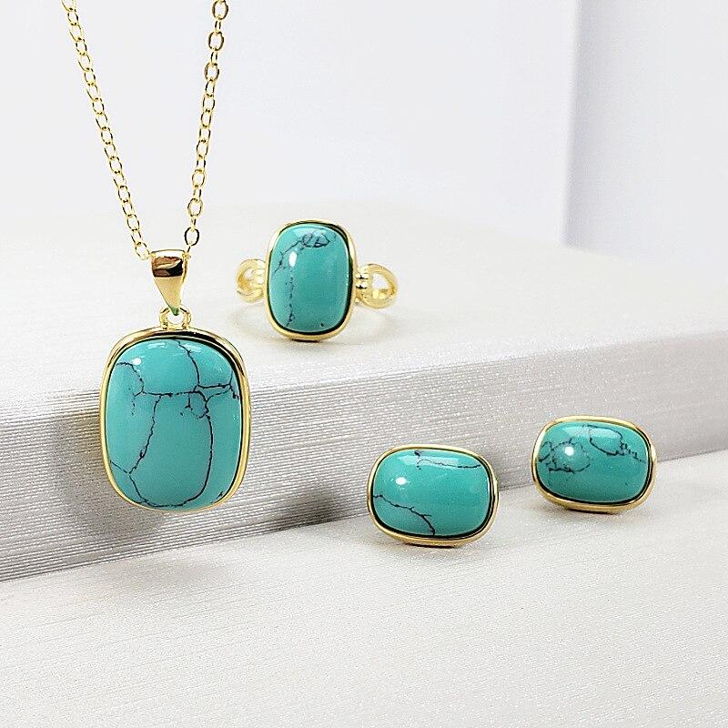 Véritable solide argent Sterling 925 ensemble de bijoux 18k plaqué or géométrique bohême ethnique femmes avec pierre Turquoise naturelle