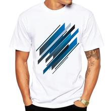 273e3b72ec3 2018 Geometric design Men s T-shirt Abstract Blue Geometry Print Fun T  shirt Men Summer