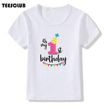 Harajuku Its My 1st Birthday Print Children T Shirt For Gift Boys Girls Funny Summer Tops