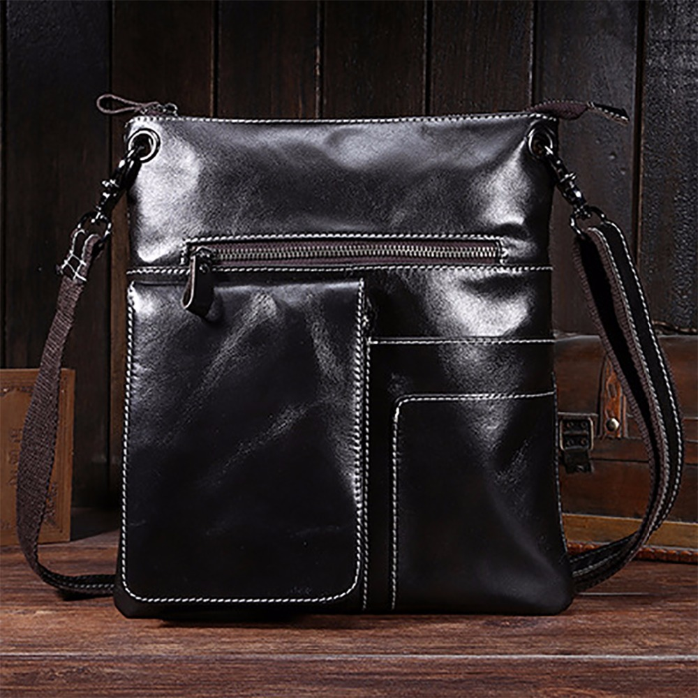 New Genuine Leather Men Single Shoulder Bag Famous Brand Casual Business Cross Body Messenger Bags Male Fashion Black Briefcase