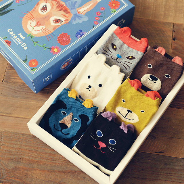 New fashion Autumn And Winter 6 pairs/set Gift box packaging girlfriend gift 100% cotton socks Mixed sent at random Cartoon pic