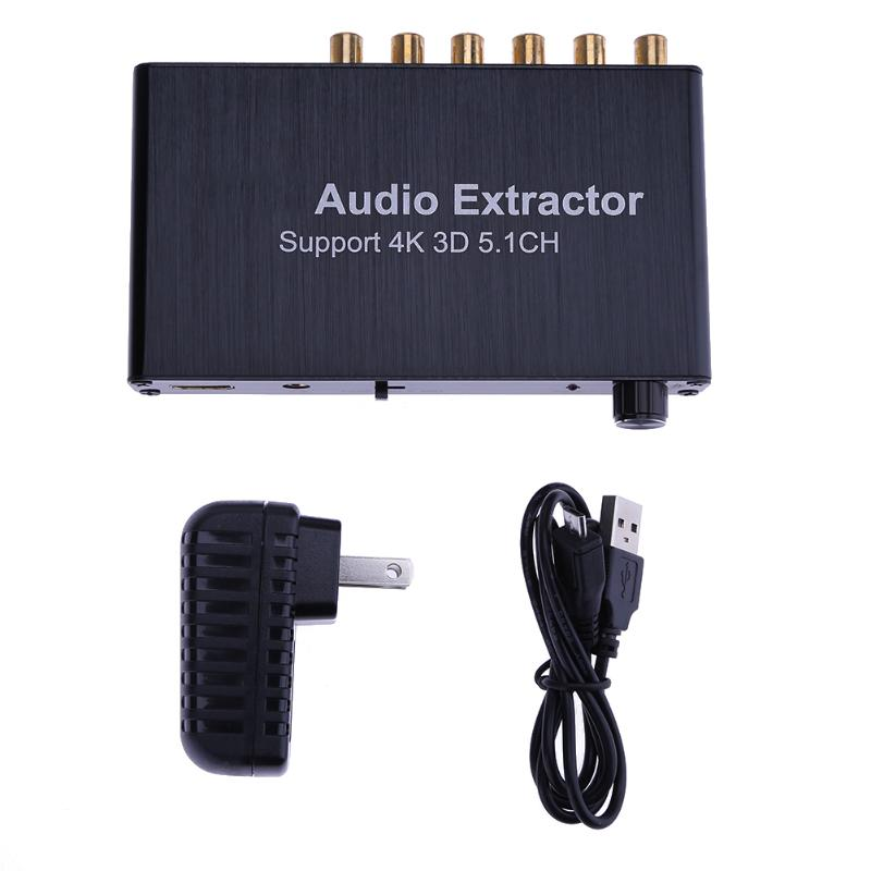 HDMI Audio Decoder Extractor Support 5.1 CH Analog Audio 4K 3D HDMI to HDMI (Dolby) AC-3/DTS Decoder with US Plug Power Adapter aixxco hdmi splitter audio decoder 4k