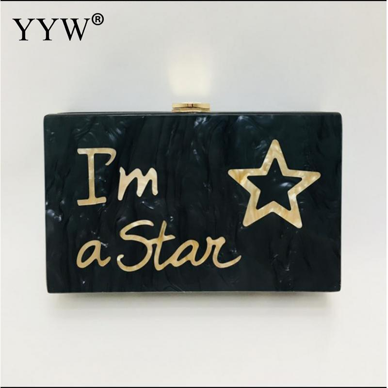 Star Bag Acrylic Clutch Bag Fashion Letter Wallet Small Wedding Handbag Black Marble Eveningbag Woman Party Prom Casual Clutch in Top Handle Bags from Luggage Bags