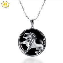 Hutang Leo Zodiac Pendant Natural Black Jade 23mm Solid 925 Sterling Silver Necklace Women's Men's Fine Jewelry Birthday(China)