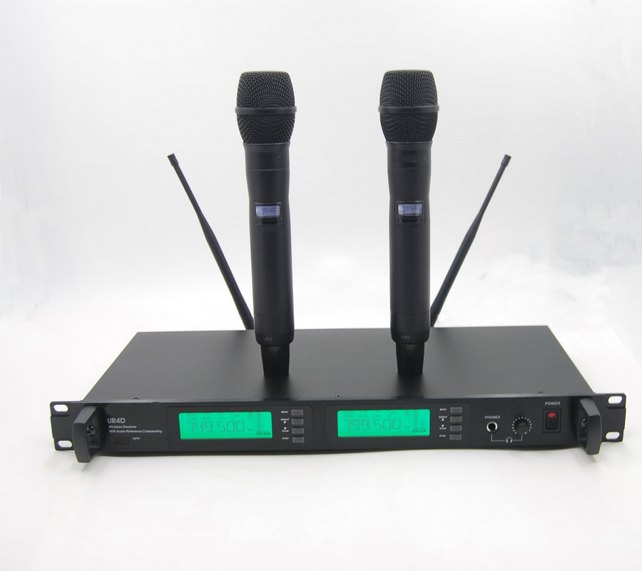 3 Years warranty Professional Dual Wireless Cordless vocal artist UHF Microphone System UR4D True Diversity UHF Wireless System professional vocal set wireless microphone system for crystal clear sound with range of 80 meters l 706